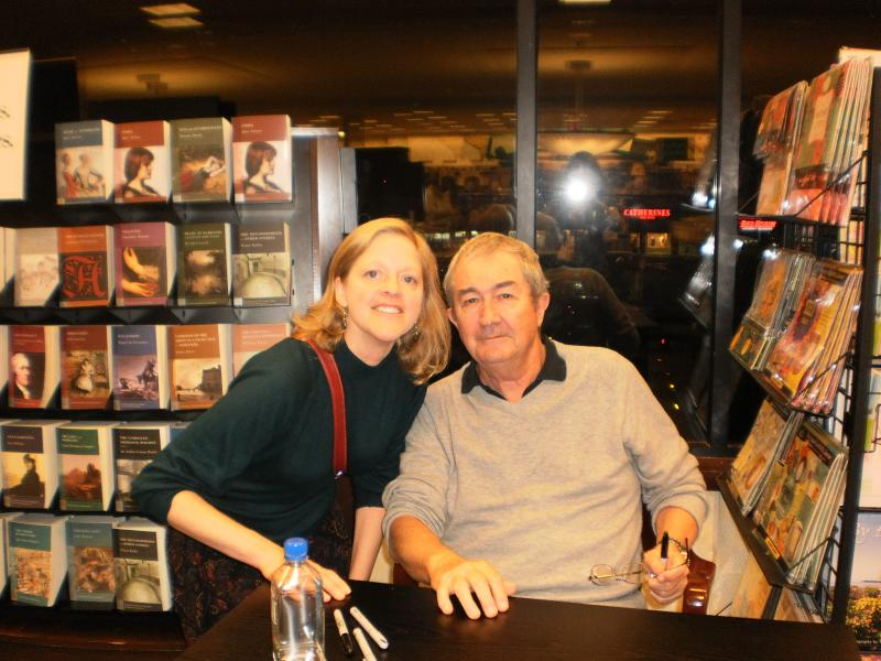 John Flanagan at a bookstore event for THE OUTCAST